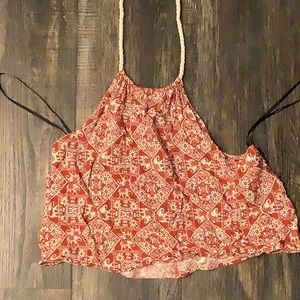 Forever 21 Rust and white halter crop top
